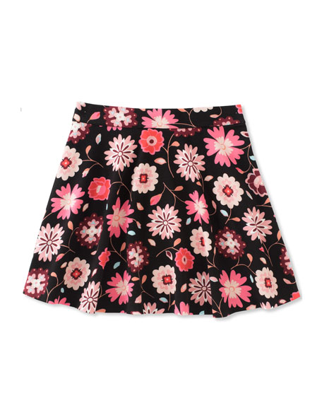 girls' floral-print skater skirt, size 7-14