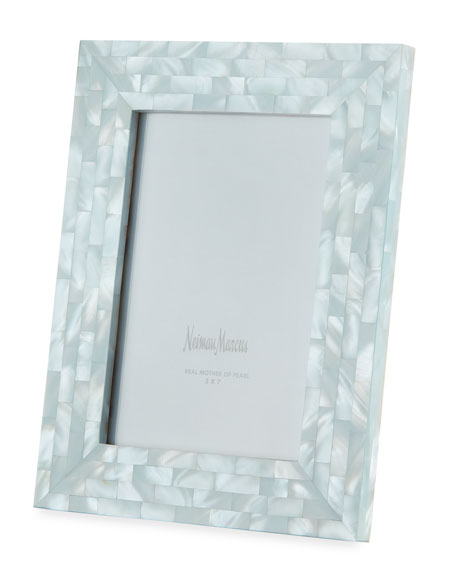 "Mother-of-Pearl Picture Frame, Blue, 5"" x 7"""