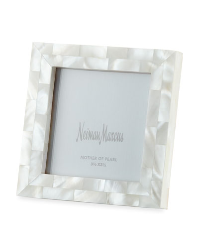 Mother-of-Pearl Picture Frame, White, 3.5