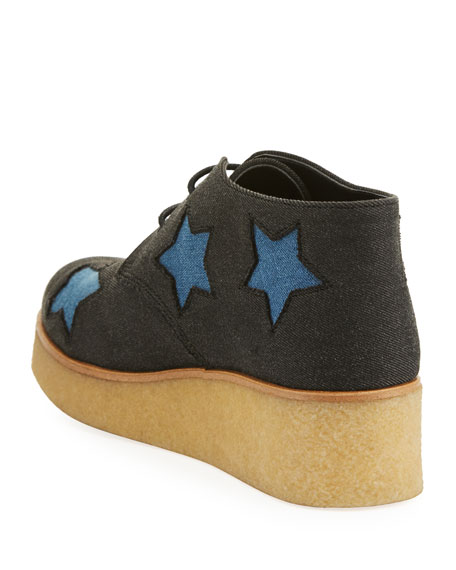 Wendy Star-Patched Denim Platform Sneakers, Toddler/Youth Sizes 10T-5Y