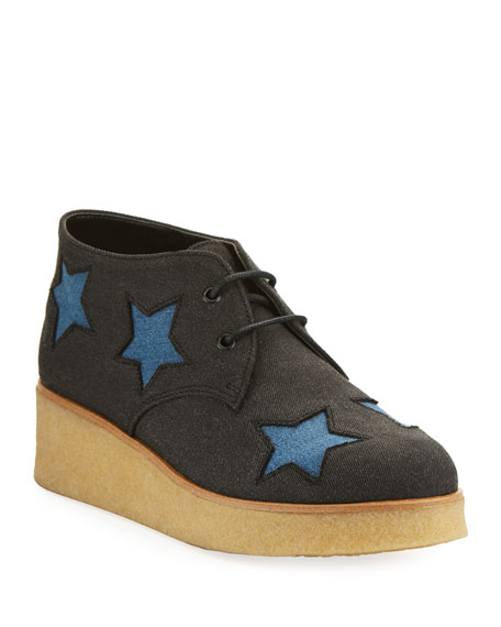 Wendy Star-Patched Denim Platform Sneaker, Sizes 10T-5Y