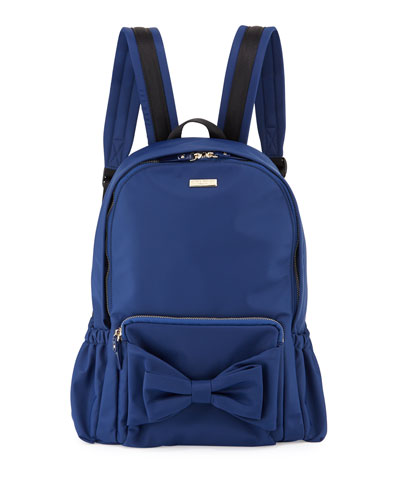 girls' back to school nylon backpack, navy
