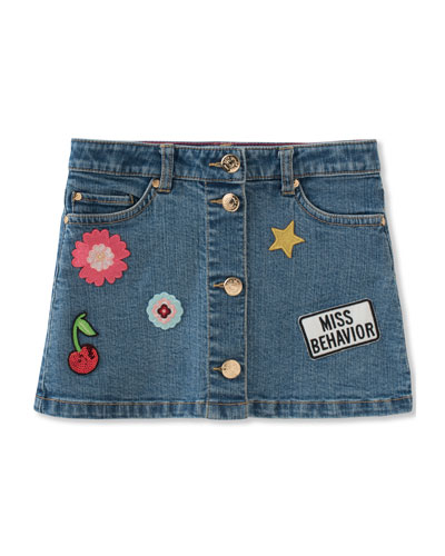 patched denim skirt, size 7-14
