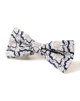 Kid's Floral-Print Bow Tie, Navy