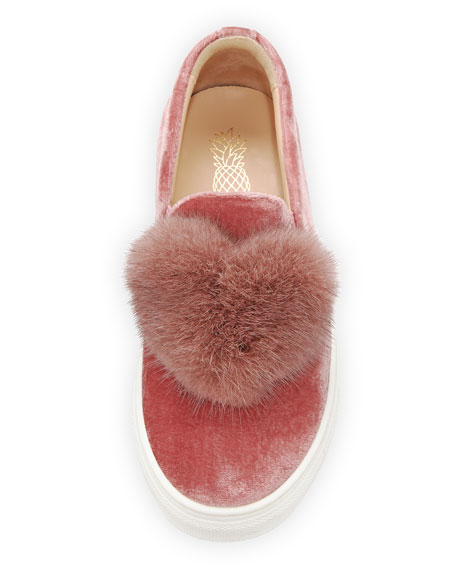 Fur Heart Slip-On Velvet Sneaker, Youth