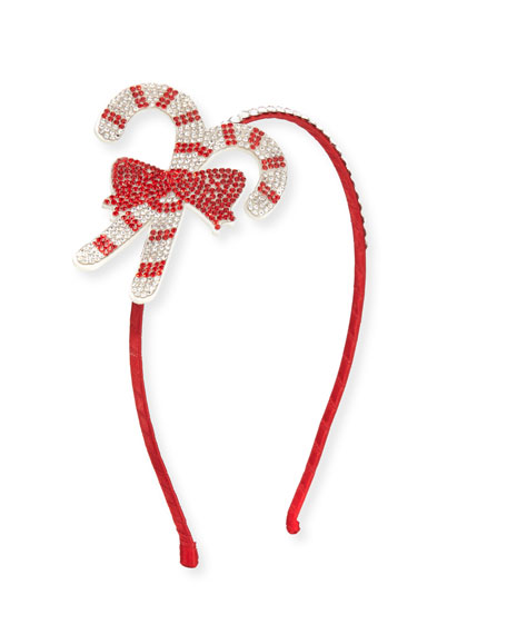 Bari Lynn Girls' Crystal Candy Cane Headband