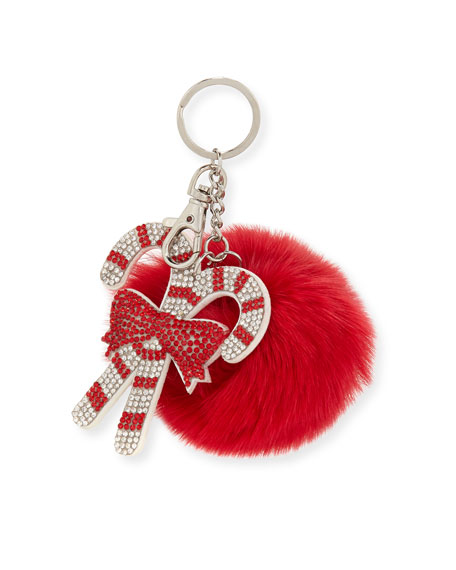Bari Lynn Girls' Candy Cane Fur-Pom Key Chain