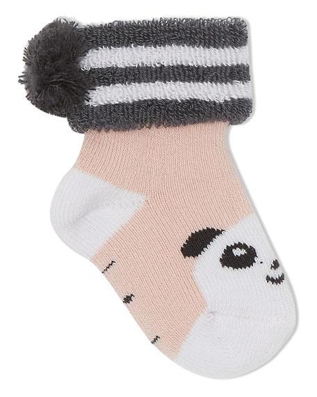 Baby Bootie Panda Socks, Light Pink