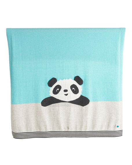 Panda Intarsia Knit Baby Blanket, Light Blue