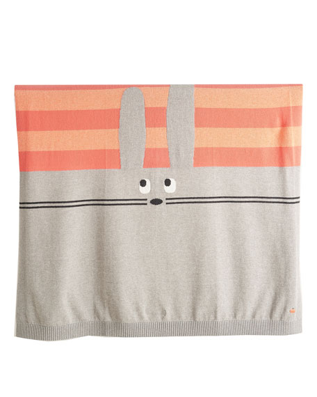 Bunny Intarsia Knit Baby Blanket, Pink