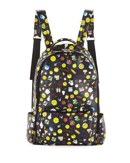 Kids' Emoji-Print Faux-Leather Backpack