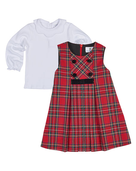 Tartan Plaid Pleated Jumper w/ Blouse, Size 12-24 Months