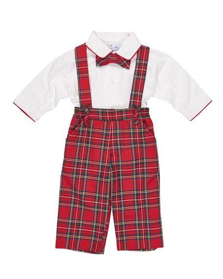 Tartan Plaid Suspender Pants w/ Shirt & Bow Tie, Size 9-24 Months