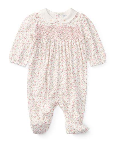 Floral-Print Smocked Footie Pajamas, Size Newborn-9 Months