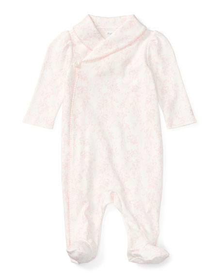 Asymmetric Front Floral-Print Footie Pajamas, Size 3-9 Months