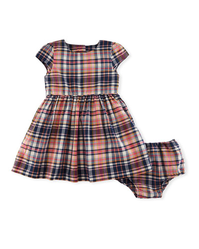 Madras Fit-and-Flare Check Dress w/ Bloomers, Size 9-24 Months