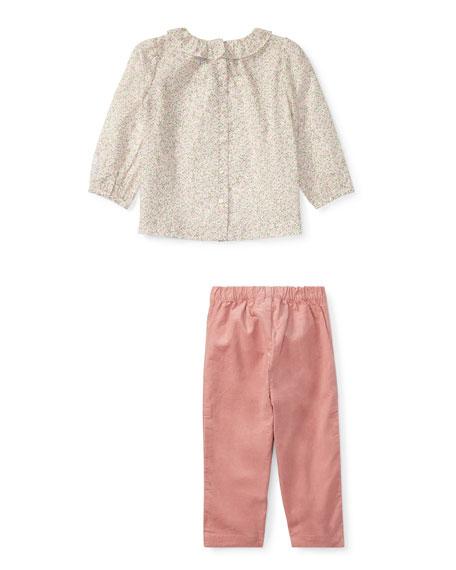 Floral Blouse w/ Pants, Size 9-24 Months