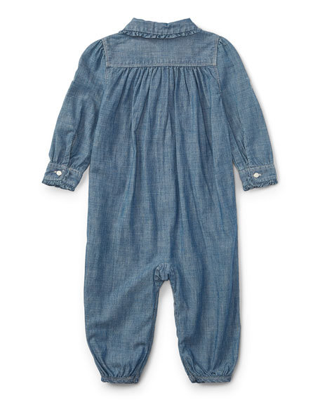 Chambray Ruffle-Trim Coverall, Size 9-24 Months