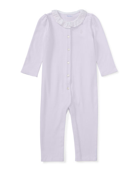 Ruffle-Collar Cotton Coverall, Size Newborn-9 Months