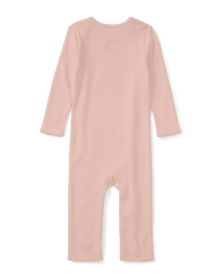 Pointelle Cotton Coverall, Pink, Size Newborn-9 Months