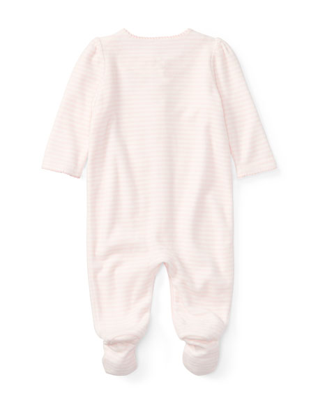 Velour Striped Footie Pajamas, Size Newborn-9 Months