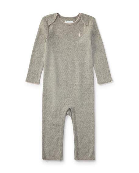 Pointelle Cotton Coverall, Gray, Size Newborn-9 Months
