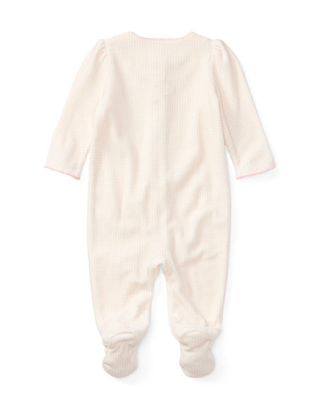 Velour Scallop-Trim Footie Pajamas, Size Newborn-9 Months