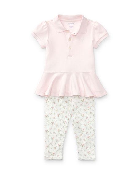 Peplum-Hem Polo w/ Floral-Print Leggings, Size 9-24 Months