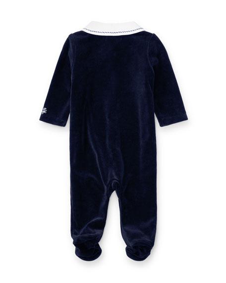 b84abe92e Ralph Lauren Childrenswear Two-Tone Velour Footie Pajamas, Navy ...