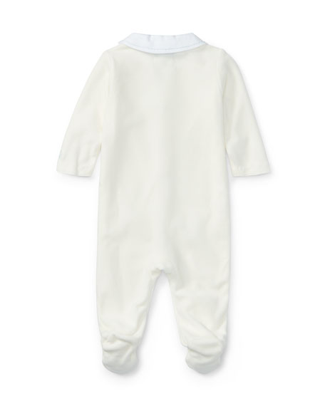 Peter Pan Collar Velour Footie Pajamas, White, Size Newborn-9 Months