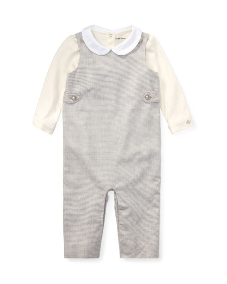 Plaid Overalls w/ Two-Tone Playsuit, Size 9-24 Months