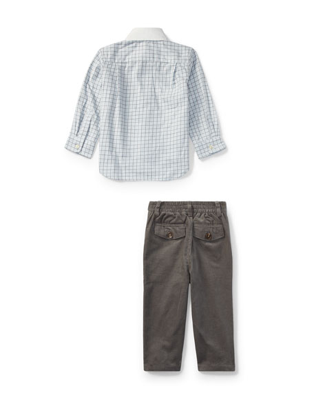 Tattersal Button-Down Dress Shirt w/ Brushed Twill Pants, Size 9-24 Months