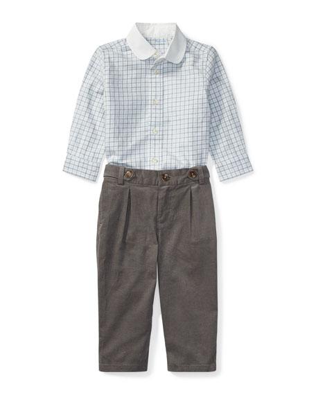 Ralph Lauren Childrenswear Tattersal Button-Down Dress Shirt w/