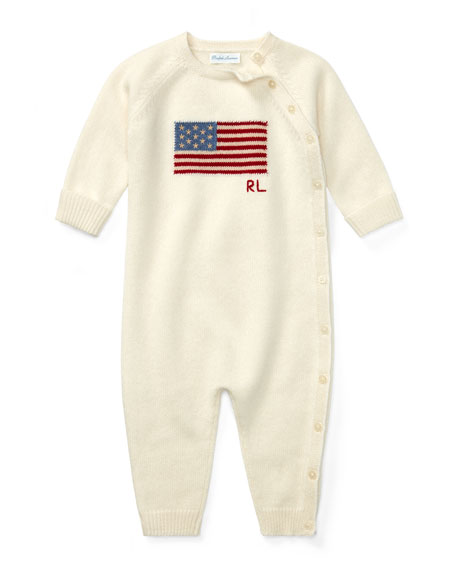 Knit Flag Coverall, Size 3-9 Months