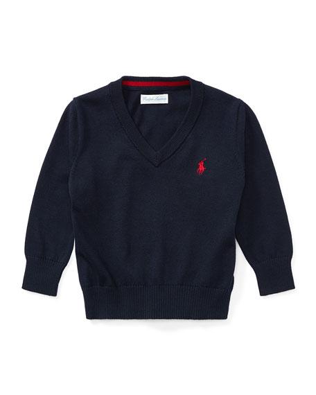 Long-Sleeve V-Neck Knit Sweater, Navy, Size 9-24 Months