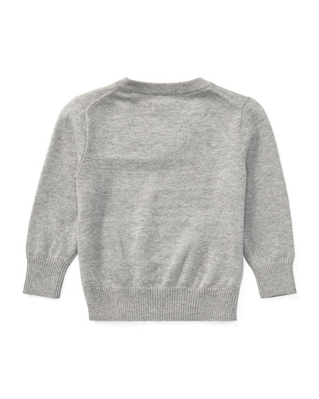 Long-Sleeve V-Neck Knit Sweater, Grey, Size 9-24 Months