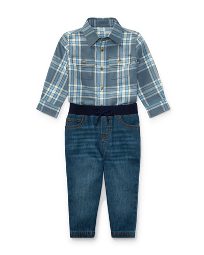 Twill Button-Down Shirt w/ Denim Joggers, Size 9-24 Months