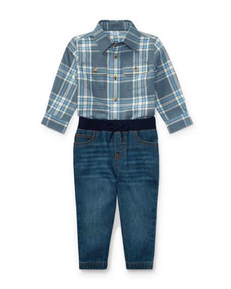Twill Button-Down Shirt w/ Denim Joggers, Size 9-24 Months