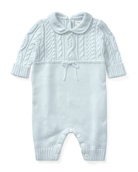 Cable-Knit Cotton Coverall, Blue, Size 3-9 Months