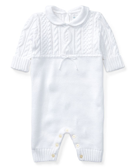 Cable-Knit Cotton Coverall, White, Size 3-9 Months