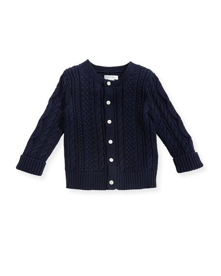 Ralph Lauren Childrenswear Soft Pearl Cotton Cable-Knit Cardigan,