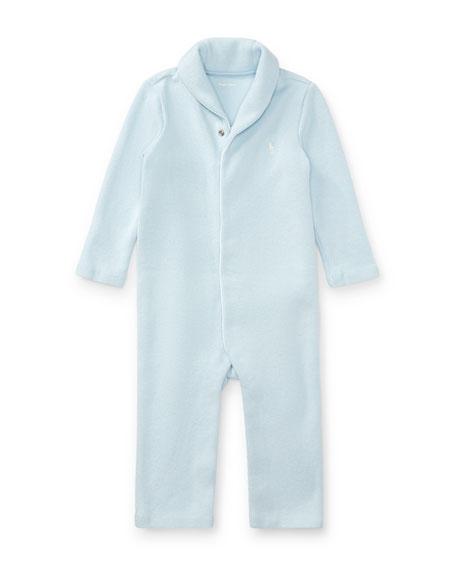 French Rib Shawl-Collar Coverall, Size Newborn-12 Months