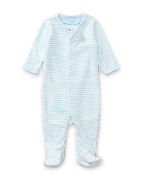 8bfbb4691 Ralph Lauren Childrenswear Velour Striped Footie Pajamas, Blue, Size  Newborn-9 Months