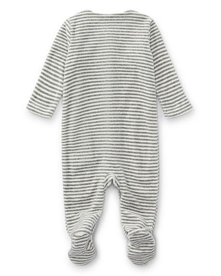 Velour Striped Footie Pajamas, Gray, Size Newborn-9 Months