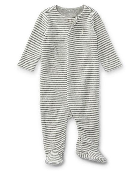 7c689d5a9 Ralph Lauren Childrenswear Velour Striped Footie Pajamas, Gray, Size  Newborn-9 Months