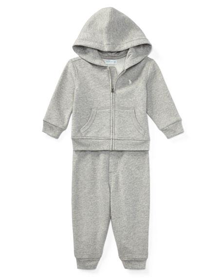 Fleece Zip-Up Hoodie w/ Sweatpants, Gray, Size 9-24 Months