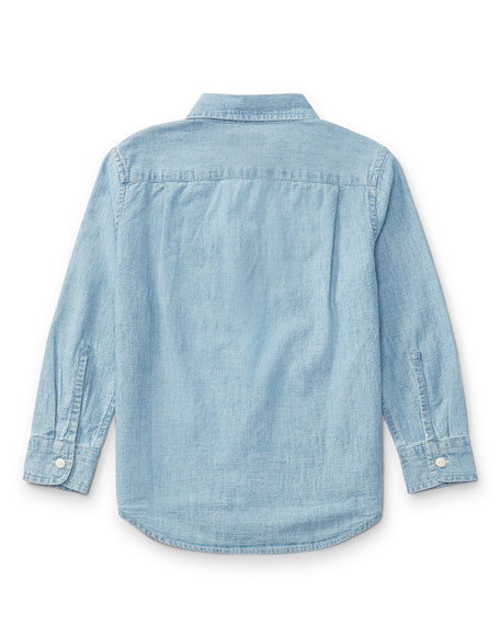 Long-Sleeve Chambray Work Shirt, Size 2-4