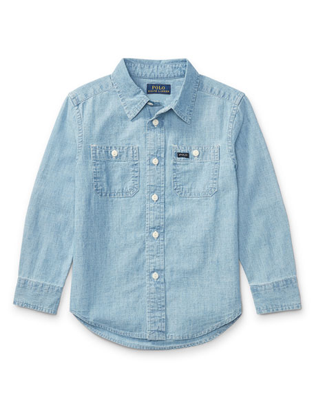 Long-Sleeve Chambray Work Shirt, Size 2-4