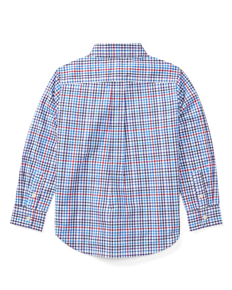 Poplin Plaid Button-Down Shirt, Blue/Red, Size 2-4