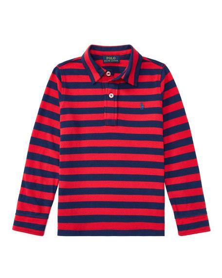 Ralph Lauren Childrenswear Long-Sleeve Striped Polo, Size 2-4